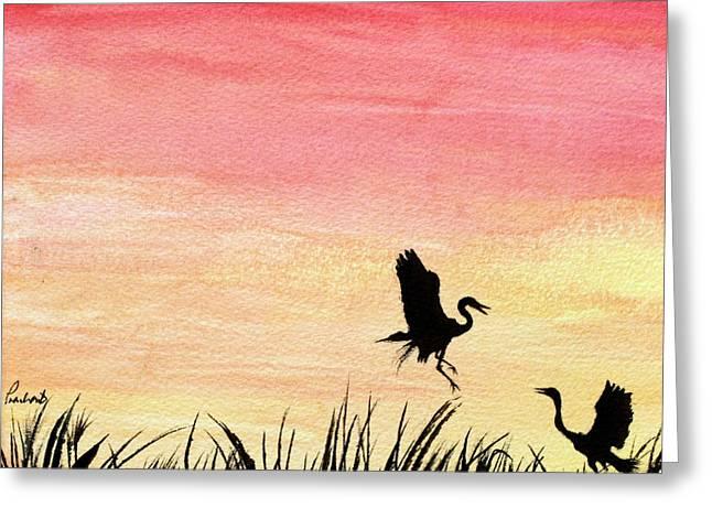 Herons At Sunset Greeting Card by Prashant Shah