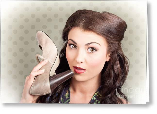 Hi Fashion. Retro Woman With High Heel Shoes Greeting Card