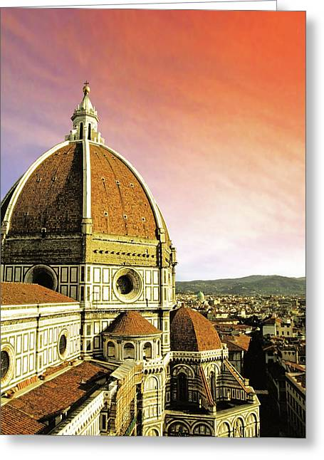 High Angle View Of A Cathedral, Duomo Greeting Card
