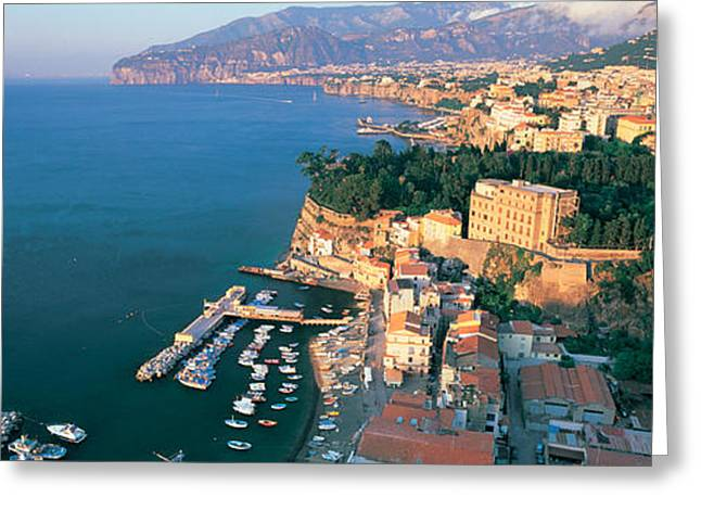 High Angle View Of A Town At The Coast Greeting Card by Panoramic Images