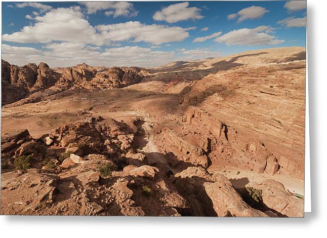 High Angle View Of Petra Valley Greeting Card