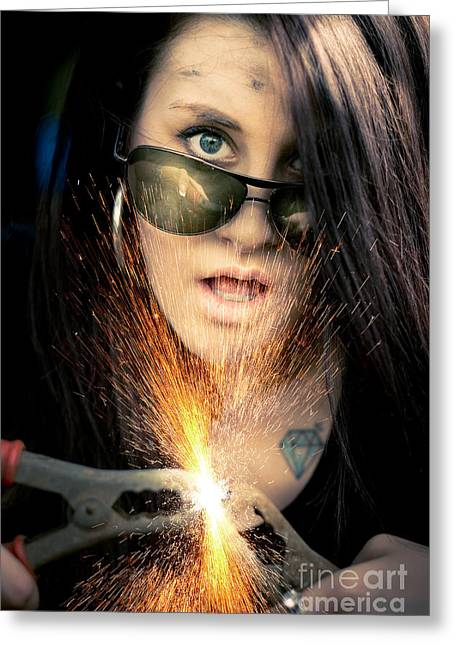 High Voltage Greeting Card by Jorgo Photography - Wall Art Gallery