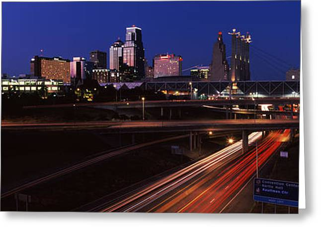Highway Interchange And Skyline Greeting Card by Panoramic Images