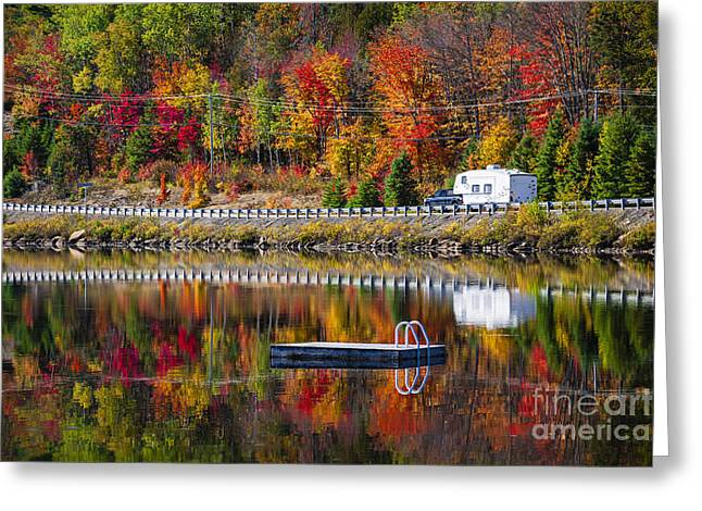 Highway Through Fall Forest Greeting Card
