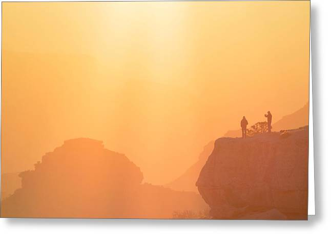 Hikers Bathed In Sunrise Sunrays In Grand Canyon National Park Square Greeting Card by Shawn O'Brien