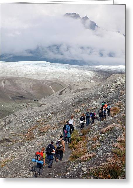 Hiking Trip To A Glacier Greeting Card by Jim West