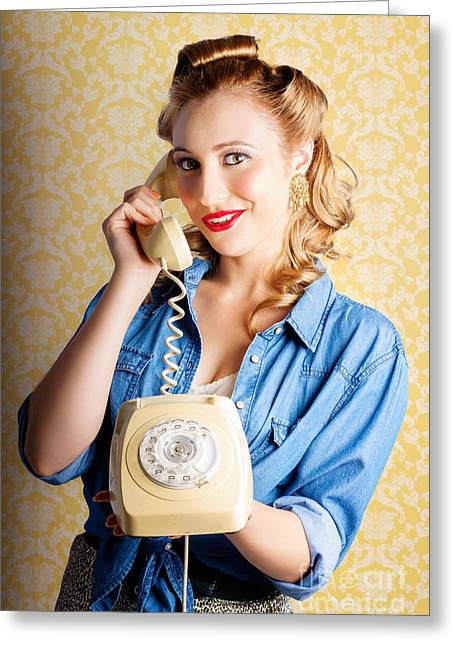 Hip Retro Girl Talking On Vintage Telephone Greeting Card by Jorgo Photography - Wall Art Gallery