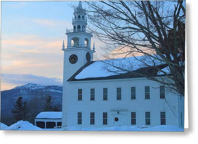 Historic Jaffrey Meetinghouse And Mount Monadnock Greeting Card