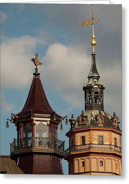 Historic Towers In The Heart Greeting Card by Dave Bartruff
