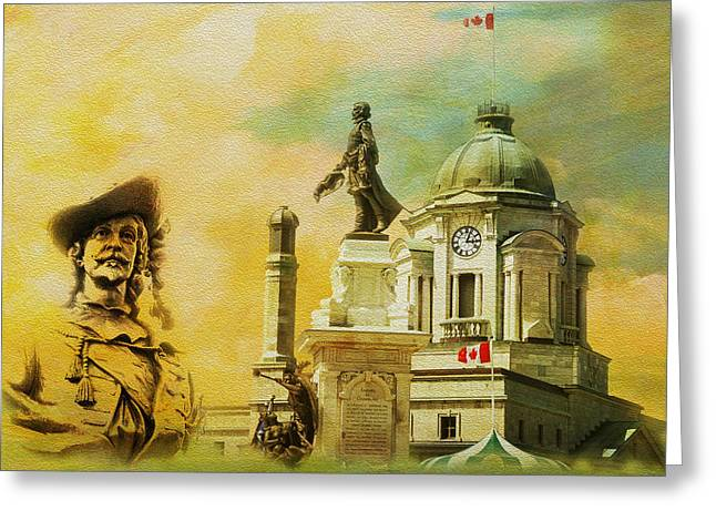 Historic Town Of Old Quebec Greeting Card by Catf
