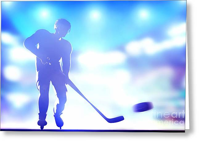 Hockey Player Shooting On Goal Greeting Card