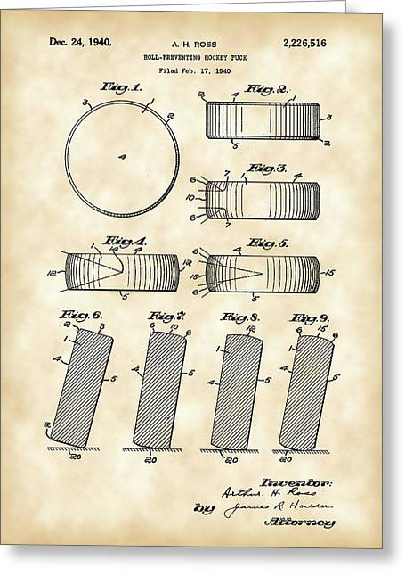 Hockey Puck Patent 1940 - Vintage Greeting Card by Stephen Younts