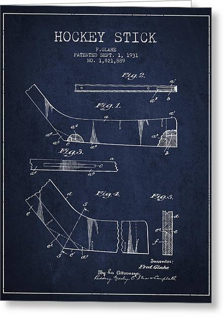 Hockey Stick Patent Drawing From 1931 Greeting Card
