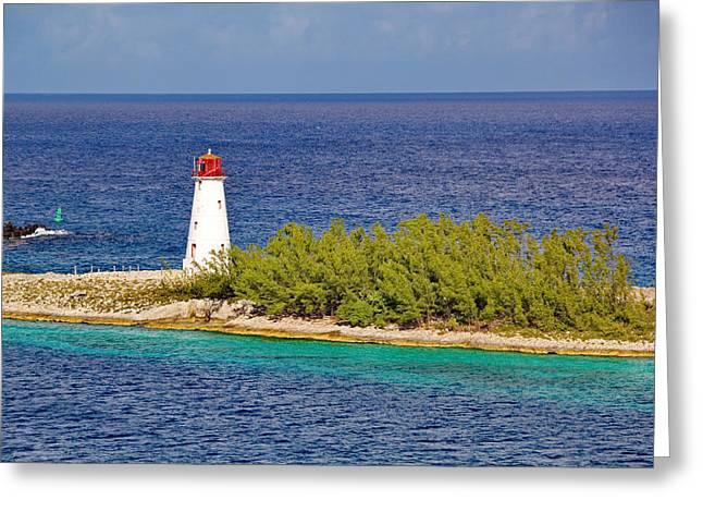 Hog Island Lighthouse On Paradise Island Bahamas Greeting Card