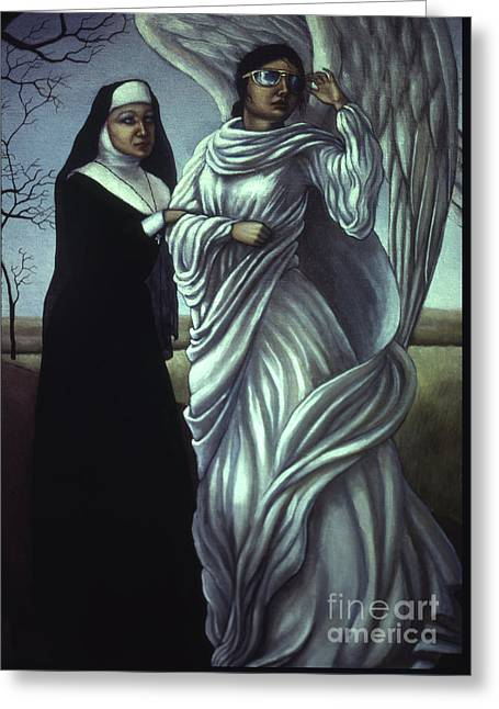 Holier Than Thou Greeting Card by Jane Whiting Chrzanoska