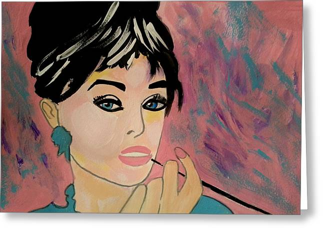Audrey Hepburn - Holly  Greeting Card