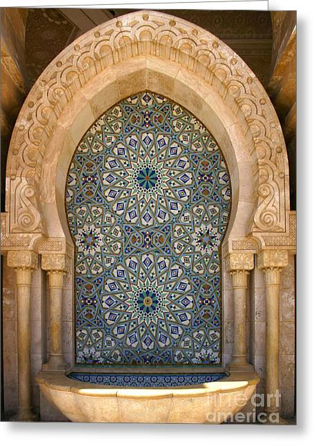Greeting Card featuring the photograph Holy Water Fountain Hassan II Mosque Sour Jdid Casablanca Morocco  by Ralph A  Ledergerber-Photography