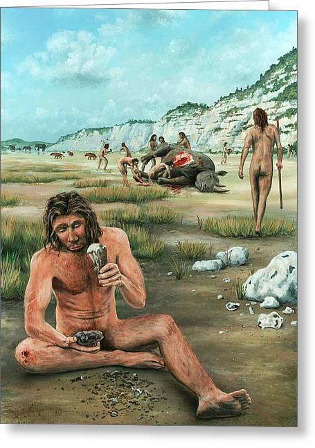 Homo Heidelbergensis Creating A Flint Axe Greeting Card