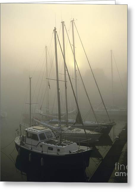 Honfleur Harbour In Fog. Calvados. Normandy. France. Europe Greeting Card by Bernard Jaubert