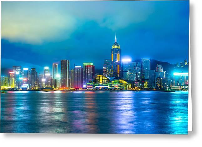 Hong Kong Skyline Greeting Card by Nattee Chalermtiragool