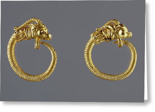 Hoop Earrings With Antelope-head Finials Unknown Alexandria Greeting Card by Litz Collection