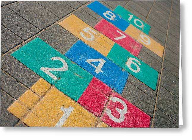 Hopscotch Game Greeting Card by Hans Engbers