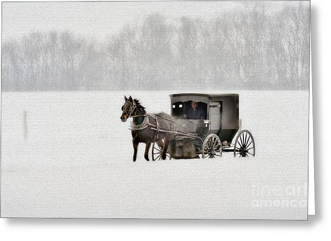 Horse And Buggy In Snow Storm Greeting Card by Dan Friend