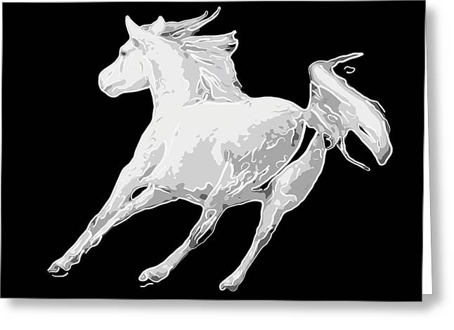 Horse Running In Joy  Greeting Card by Tommytechno Sweden