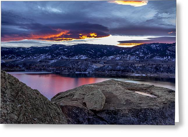 Horsetooth At Sunset Greeting Card by Bob Younger
