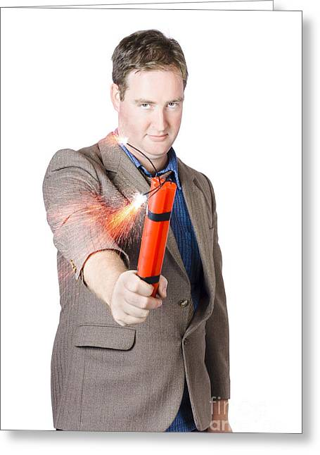Hostile Male Office Worker Holding Flaming Bomb Greeting Card by Jorgo Photography - Wall Art Gallery