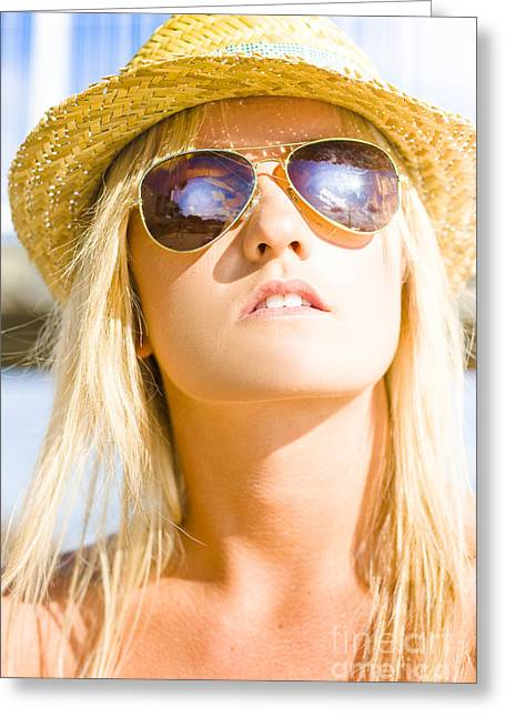 Hot Beach Babe In Summer Fashion Greeting Card by Jorgo Photography - Wall Art Gallery