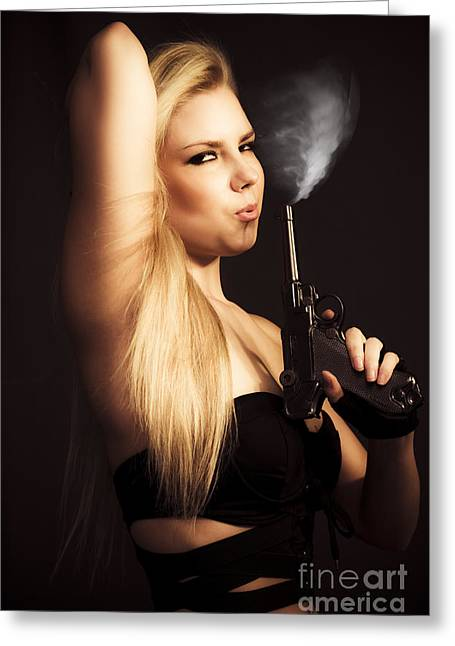 Hot Shot Woman Greeting Card