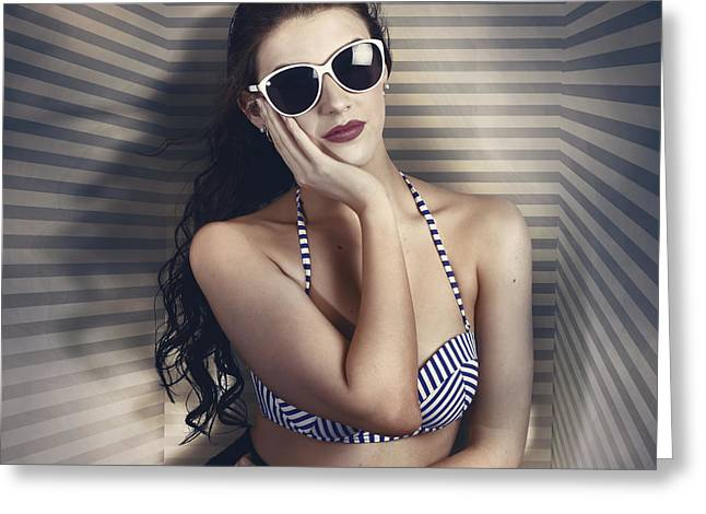 Hot Summer Fashion Beauty In Sunglasses And Bikini Greeting Card by Jorgo Photography - Wall Art Gallery