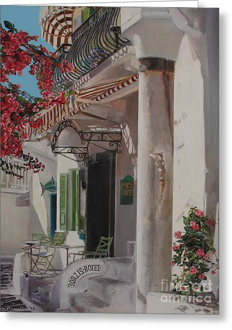 Hotel Zorziz Mykonos Greece Greeting Card by Debra Chmelina