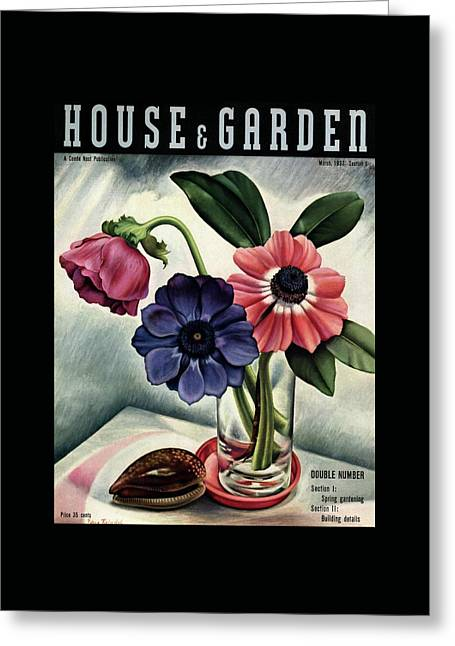 House And Garden Cover Greeting Card by Edna Reindel