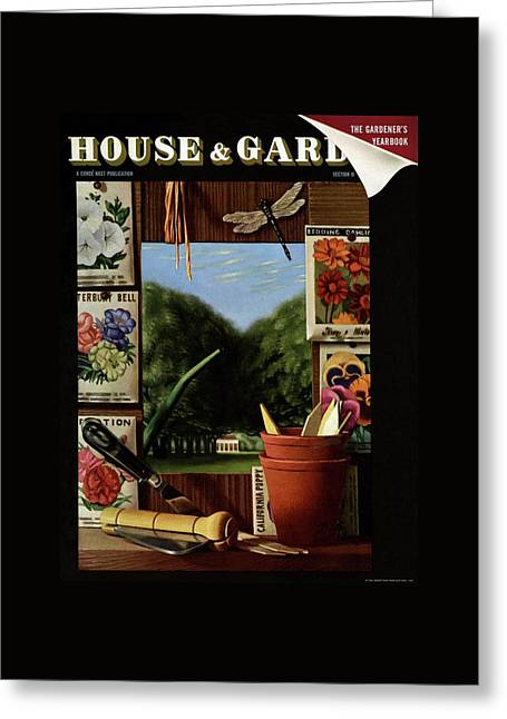 House And Garden Cover Greeting Card by Pierre Roy