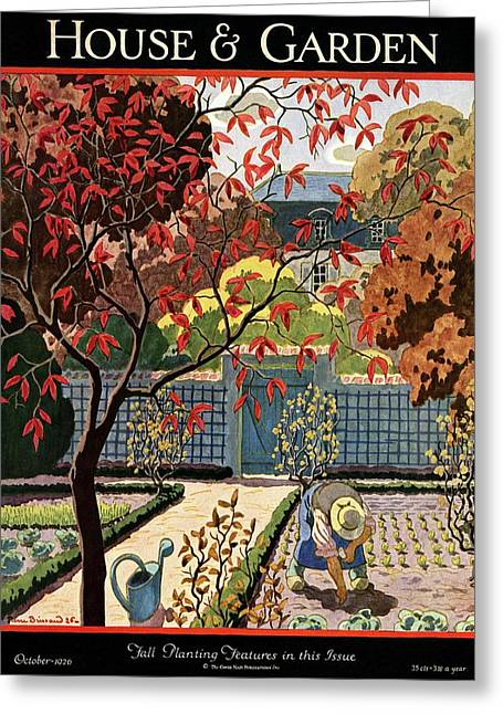 House And Garden Fall Planting Number Cover Greeting Card by Pierre Brissaud