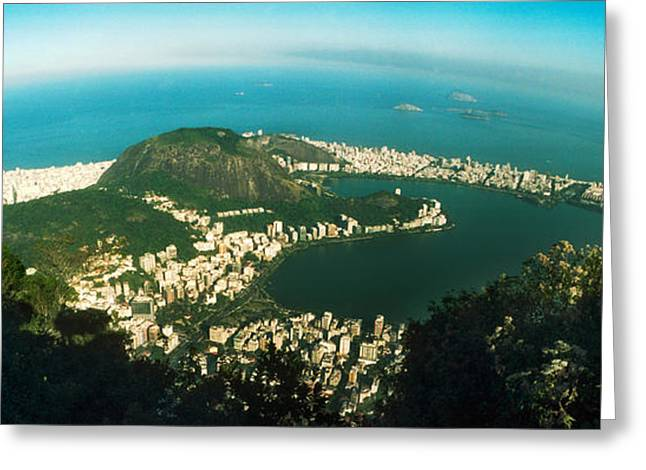 House On The Coast From Corcovado, Rio Greeting Card by Panoramic Images