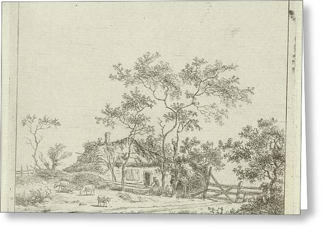 House With Four Sheep, Hermanus Fock Greeting Card by Hermanus Fock