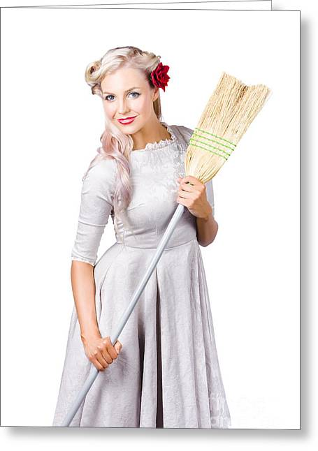 Housemaid With Broom Greeting Card by Jorgo Photography - Wall Art Gallery
