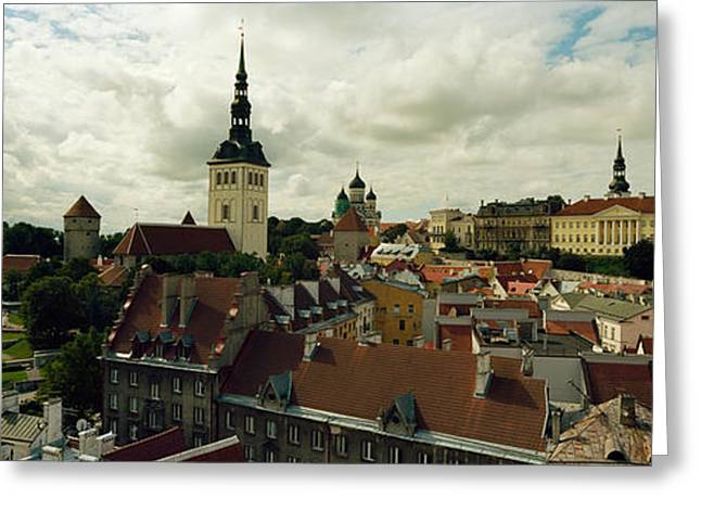 Houses In A Town, Tallinn, Estonia Greeting Card by Panoramic Images