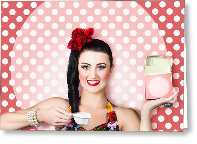 Housework Woman With Washing Machine Soap Powder Greeting Card