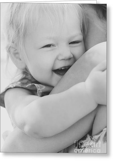 Hugging Mother And Daughter In Black And White Greeting Card by Jorgo Photography - Wall Art Gallery