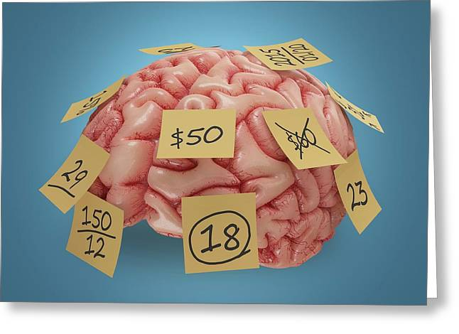 Human Brain With Sticky Notes Greeting Card