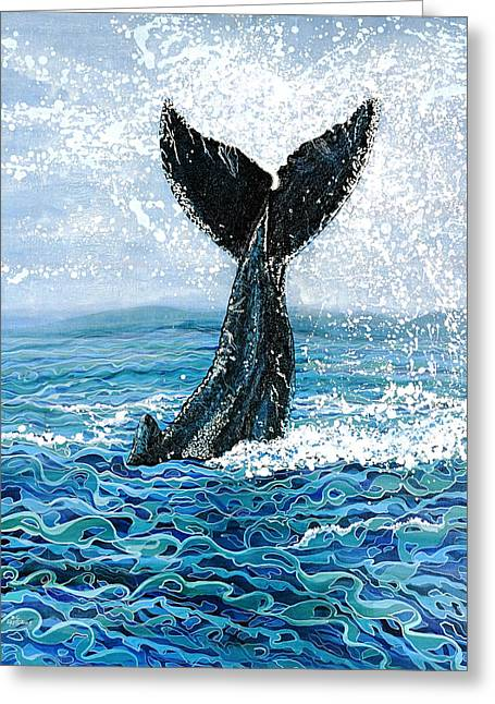 Greeting Card featuring the painting Humpback Flukes by Debbie Chamberlin