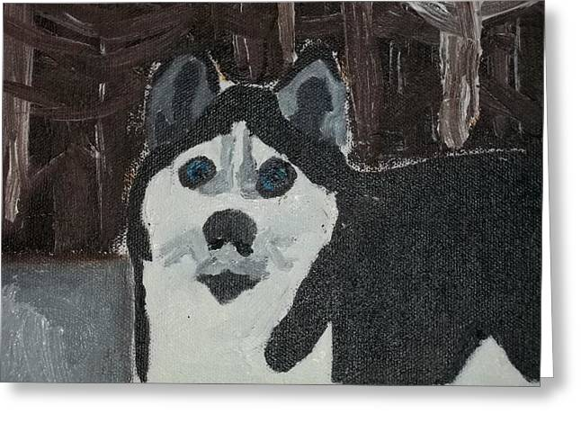 Husky Oil Painting Greeting Card by William Sahir House
