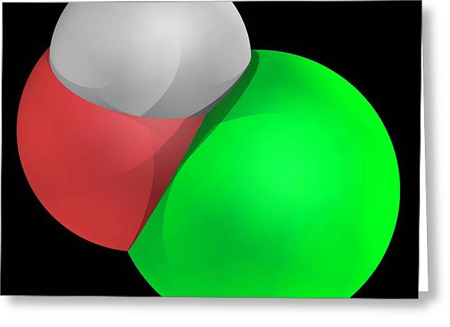 Hypochlorous Acid Molecule Greeting Card by Laguna Design/science Photo Library