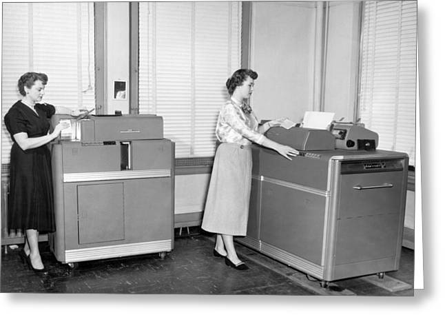 Ibm Punch Card Machines Greeting Card by Underwood Archives