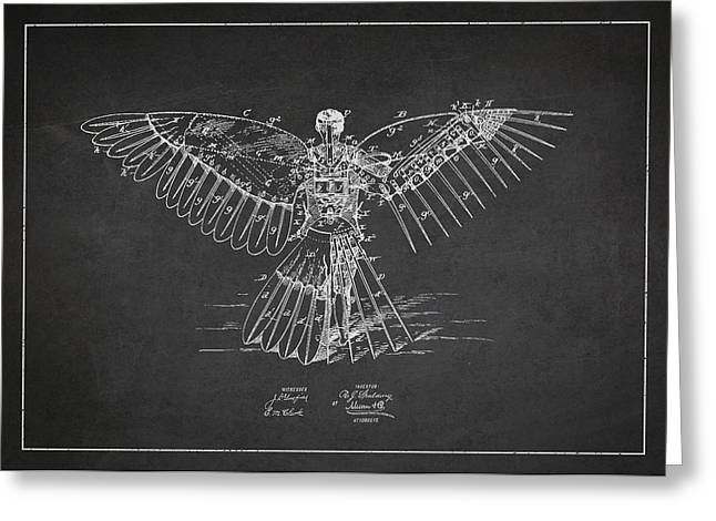 Icarus Flying Machine Patent Drawing Rear View Greeting Card by Aged Pixel