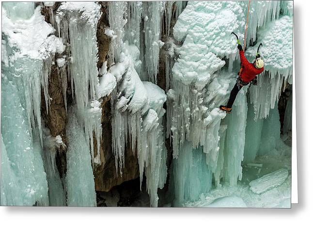 Ice Climber Ascending At Ouray Ice Greeting Card by Howie Garber